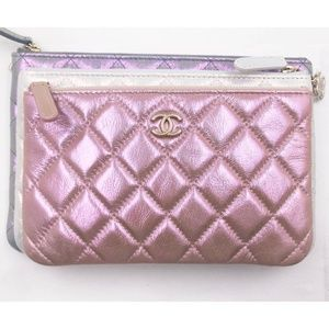CHANEL Bags - Chanel Iridescent Crumpled 3 Pouch Clutch